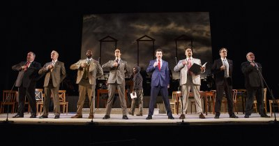 """Bryce Pinkham as John Dickinson (right of center) and company sing """"Cool, Cool Considerate Men"""" in """"1776"""" (Photo credit: Joan Marcus)"""