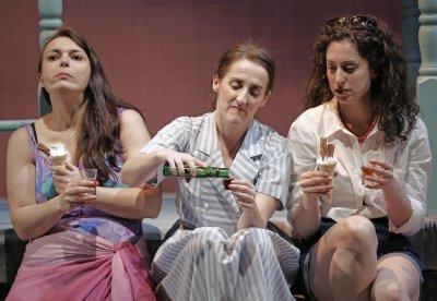 """Zoë Watkins, Aedin Moloney and Barrie Kreinik in a scene from """"When I Was a Girl I Used to Scream and Shout"""" (Photo credit: Carol Rosegg)"""