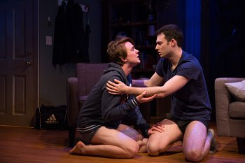 "Thomas E. Sullivan and Jake Epstein in a scene from ""Straight"" (Photo credit: Matthew Murphy)"