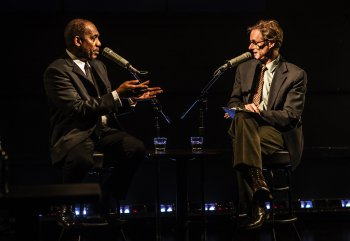 """Joe Morton and John Carlin in a scene from """"Turn Me Loose"""" (Photo credit: Monque Carboni)"""