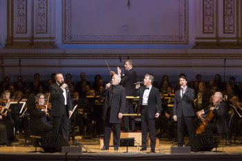 "John Owens –Jones. Robert Marien, Hugh Panaro and Eric Kunze with music director Steven Reineke at the podium in The New York Pops' 33rd Birthday Gala entitled "" Do You Hear the People Sing"" (Photo credit: Richard Termine)"