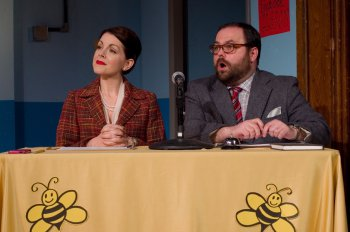 "Lindsie VanWinkle and Matt Welsh in a scene from ""The 25th Annual Putnam County Spelling Bee"" (Photo credit: Michael Dekker)"