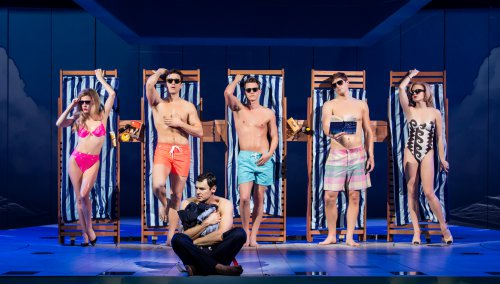 "Morgan Weed, Alex Michael Stoll, Benjamin Walker, Dave Thomas Brown, Jordan Dean and Heléne Yorke in a scene from ""American Psycho"" (Photo credit: Jeremy Daniel)"