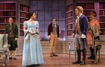 "Henry Stram, Nadine Malouf, Christian Conn, Christian DeMarais and Ramsey Faragallah in a scene from ""The School for Scandal"" (Photo credit: Carol Rosegg)"
