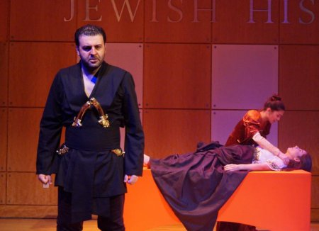 "David Serero, Amanda Vilanova and Elena Barono in a scene from the American Sephardi Federation's production of ""Othello"""