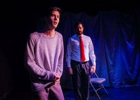 "Dylan Goodwin and Erik Ransom in a scene from ""The Screens,"" part of ""Blankets and Bedtime"" (Photo credit: Bryan Cash)"