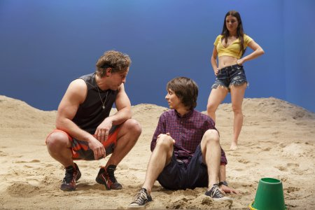 "Joe Tippett, Owen Campbell and Elise Kibler in a scene from ""Indian Summer"" (Photo credit: Joan Marcus)"