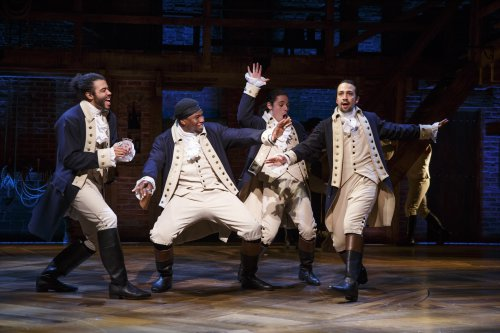 "David Diggs, Okieriete Onaodowan, Anthony Ramos and Lin-Manuel Miranda in a scene from the Tony Award-winning Best Musical ""Hamilton"" (Photo credit: Joan Marcus)"