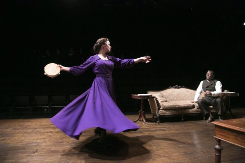 """Maggie Lacey as Nora Helmer and John Douglas Thompson as Torvald Helmer in a scene from """"A Doll's House"""" (Photo credit: Gerry Goodstein)"""