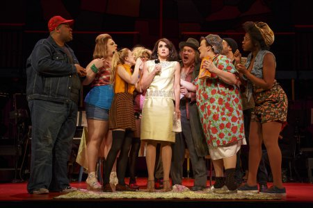"""Brynn O'Malley and Company sing """"Cheese Nibs"""" in a scene from """"Kurt Vonnegut's God Bless You, Mr. Rosewater"""" (Photo credit: Joan Marcus)"""