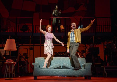 "Kate Weatherhead, Skylar Astin and Kevin Del Aguila sing ""The Rhode Island Tango"" in a scene from ""Kurt Vonnegut's God Bless You, Mr. Rosewater"" (Photo credit: Joan Marcus)"