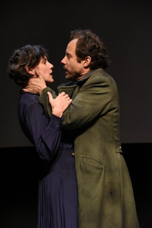 "Stephanie Janssen and Alex Draper in a scene from Howard Barker's ""No End of Blame: Scenes of Overcoming"" (Photo credit: Stan Barouh)"