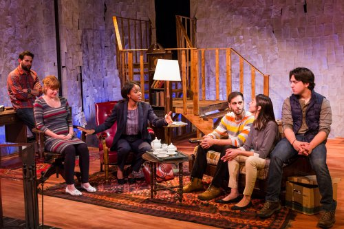 "Michael Kingsbaker, Megan E. Jones, Orisa Henderson, Rob Brinkman, Jessica O'Hara-Baker and John DiMino in a scene from ""The Red Room"" (Photo credit: Michael Bernstein)"