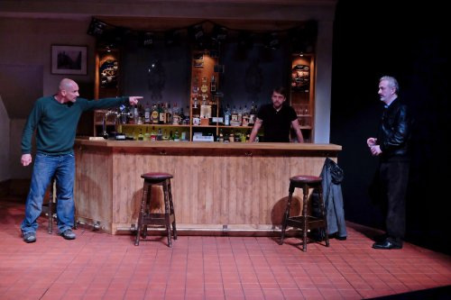 """Patrick O'Kane, Robert Zawadzki and Declan Colon in the Abbey Theatre's production of """"Quietly"""" at the Irish Rep (Photo credit: James Higgins)"""