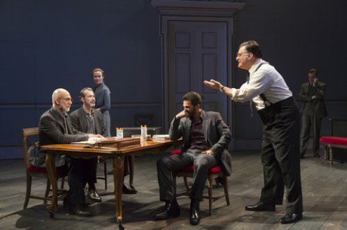 "Anthony Azizi, Dariush Kashani, Jennifer Ehle, Michael Aronov, Joseph Siravo and Jefferson Mays in a scene from ""Oslo"" (Photo credit: T. Charles Erickson)"
