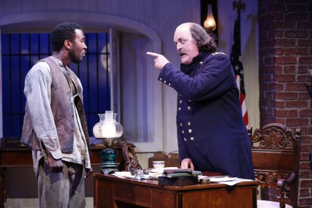 "John G. Williams and Ames Adamson in a scene from ""Butler"" (Photo credit: Carol Rosegg)"