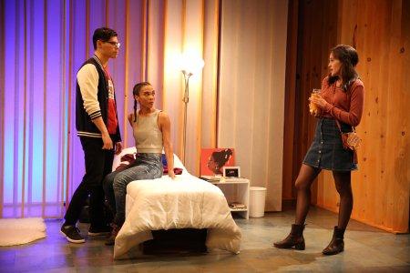 "Ruy Iskandar, Suzette Azariah Gunn and Francesca Carpanini in a scene from Idris Goodwin's ""Black Flag"" (Photo credit: Carol Rosegg)"