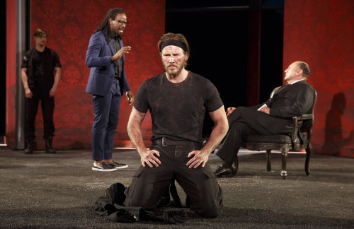 "Andrew Chaffee (Margareton), Maurice Jones (Paris), Bill Heck (Hector) and Miguel Perez (King Priam) in a scene from ""Troilus and Cressida"" (Photo credit: Joan Marcus)"