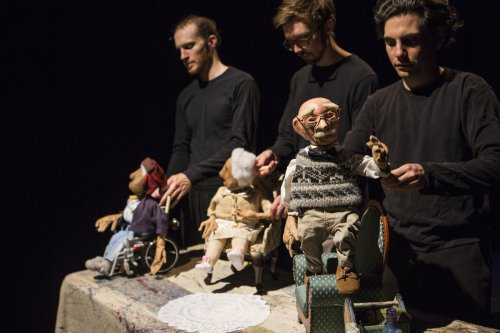 "Rowan Magee, Robert Stevenson and Nicholas Lehane with puppets designed by Spencer Lott for ""Blossom"" (Photo credit: Maria Baranova)"