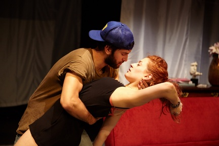 "Scott Friend and Kelsey Moore in a scene from ""Bachelorette"" (Photo credit: Giovanna Grueiro)"