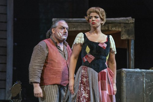 "Jessica Rose Cambio and Francesco Anile in in a scene from the New York City Opera's production of ""Pagliacci"" (Photo credit: Sarah Shatz/New York City Opera)"
