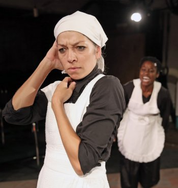 "Laura Butler Rivera and Folani Williams in a scene from José Rivera's ""The Maids"" (Photo credit: Carol Rosegg)"