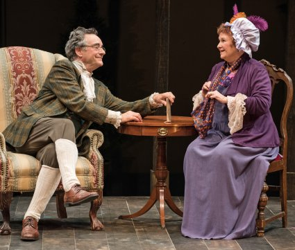 "John Rothman and Cynthia Darlow in a scene from TACT's revival of ""She Stoops to Conquer"" (Photo credit: Marielle Solan)"