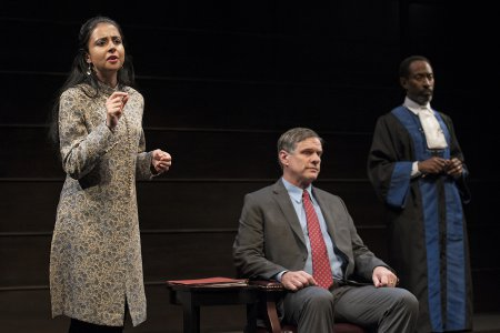 "Mahira Kakkar, Tony Carlin and Michael Rogers in a scene from ""The Trial of an American President"" (Photos credit: Ken Nahoum)"