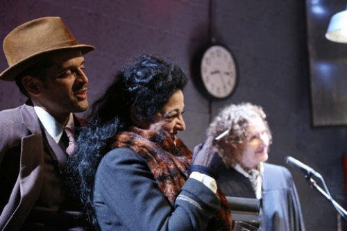 "Antonio Edwards Suarez, Elise Stone and Ellen Mandel in a scene from ""The Resistible Rise of Arturo Ui"" (Photo credit: Gerry Goodstein)"