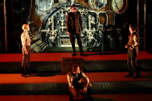 "Suzy Jane Hunt, Marcel Jeannin (seated), Richard Clarkin and Rick Miller in a scene from ""Twenty Thousand Leagues under the Sea"" (Photo credit: Itai Erdal)"