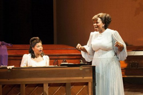 """Rebecca Naomi Jones and Kecia Lewis in a scene from """"Marie and Rosetta"""" (Photo credit: Ahron R. Foster)"""