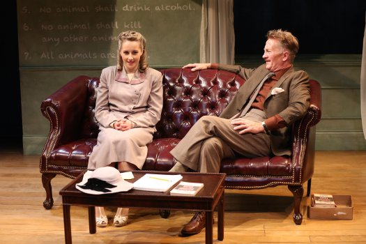 "Jeanna de Waal and Jamie Horton in a scene from ""Orwell in America"" (Photo credit: Carol Rosegg)"