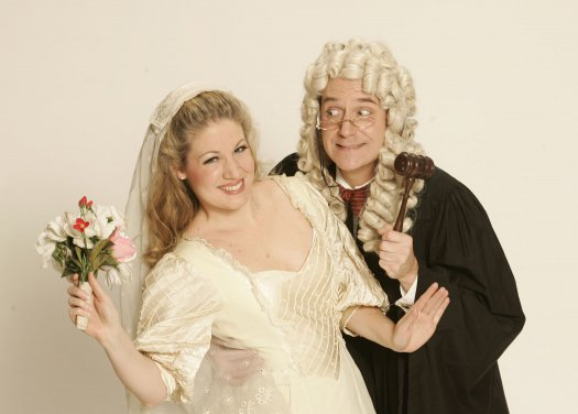 "Laurelyn Watson Chase and Stephen Quint in a scene from Gilbert & Sullivan's ""Trial by Jury"" (Photo credit: Carol Rosegg)"