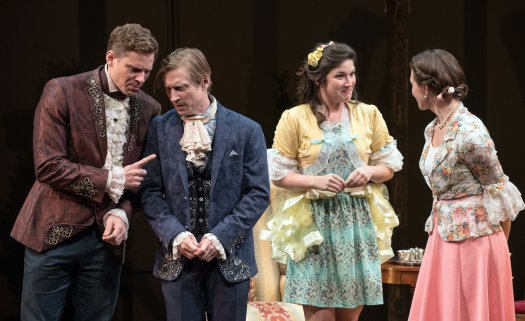 """Tony Roach, Jeremy Beck, Justine Salata and Mairin Lee in a scene from TACT's revival of """"She Stoops to Conquer"""" (Photo credit: Marielle Solan)"""