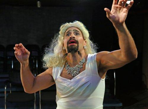 """Daniel Irizarry as La Doña in a scene from José Rivera's """"The Maids"""" (Carol Rosegg)"""