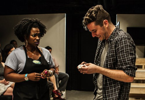 "Stacey Sargeant and Michael Urie in in a scene from ""Homos, Or Everyone in America"" (Photo credit: Monique Carboni)"