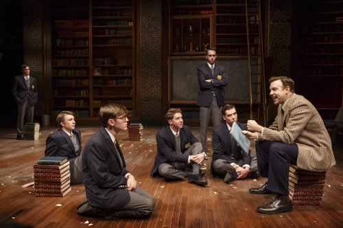 "Zane Pais, Thomas Mann, Bubba Weiler, William Hockman, Yaron Lotan, Cody Kostro and Jason Sudeikis in a scene from ""Dead Poets Society"" (Photo credit: Joan Marcus)"
