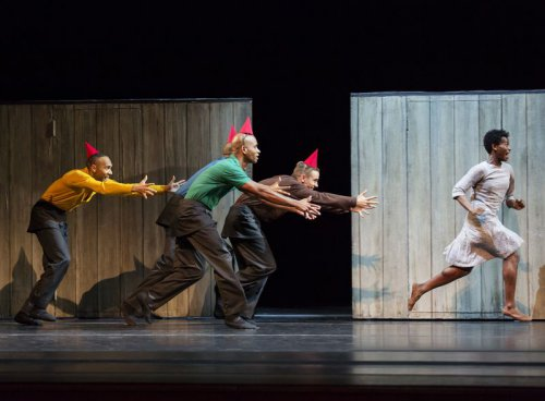 "A scene from Alvin Ailey American Dance Theater's production of Johan Inger's  ""Walking Mad"" (Photo credit: Paul Kolnik)"