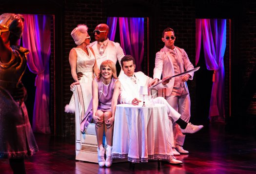 "Emily Padgett, Donald Jones, Jr., Sutton Foster, Joel Perez and Cody Willliams in the Pompei Club scene in The New Group's revival of ""Sweet Charity"" (Photo credit: Monique Carboni)"