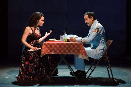 "Katrina Lenk and Tony Shalhoub in a scene from ""The Band's Visit"" (Photo credit: Ahron H. Foster)"