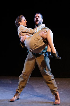 "Laura Osnes as Pallas Athene and Will Swenson as Jupiter in a scene from ""Blueprint Specials"" (Photo credit: Ryan Jensen)"