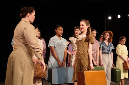 "Emily McAleesjergins as MP Peggy (far left) and Laura Osnes as Mary Brown and cast in a scene from ""Blueprint Specials"" (Photo credit: Ryan Jensen)"