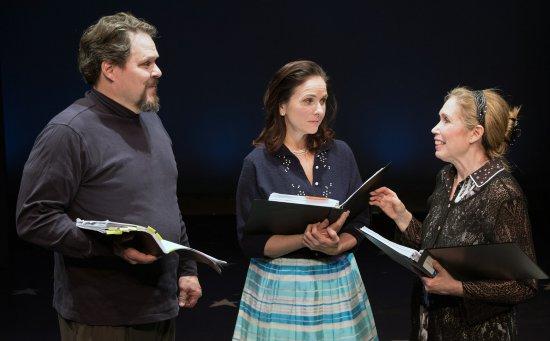 """Mark Delavan, Anne Runolfsson and Aliz Korey in a scene from """"Milk and Honey"""" (Photo credit: Ben Strothmann)"""