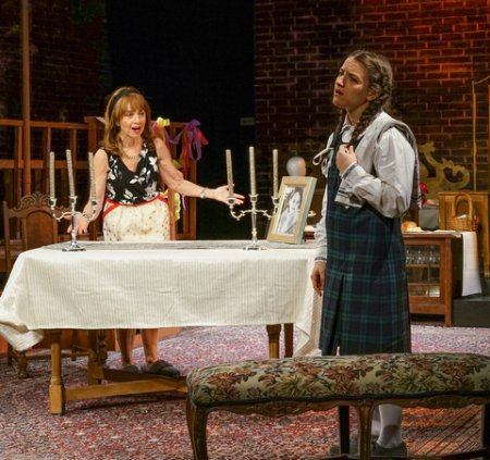 """Eleanor Reissa and Shayna Schmidt in a scene from New Yiddish Rep's revival of """"God of Vengeance"""" (Photo credit: Ronald L. Glassman)"""
