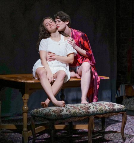 """Shayna Schmidt and Melissa Weisz in a scene from New Yiddish Rep's revival of """"God of Vengeance"""" (Photo credit: Ronald L. Glassman)"""