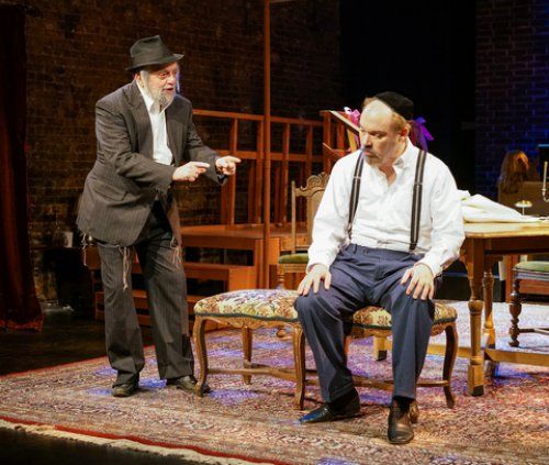 """David Mandelbaum and Shane Baker in a scene from New Yiddish Rep's revival of """"God of Vengeance"""" (Photo credit: Ronald L. Glassman)"""
