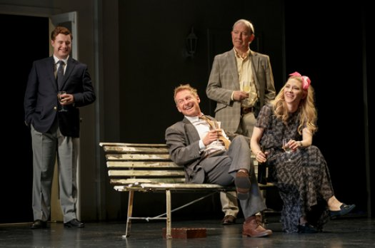 "Brandon McClelland, Richard Roxburgh, David Downer and Cate Blanchett in a scene from The Sydney Theatre Company's production of ""The Present"" (Photo credit: Joan Marcus)"