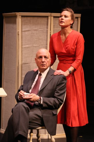 "Robert S. Gregory and Caralyn Kozlowski in a scene from ""The Dressmaker's Secret"" (Photo credit: Carol Rosegg)"