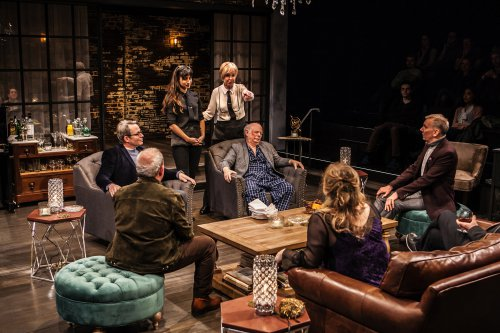 """Matthew Broderick, Annapurna Sriram, Jill Eikenberry, Wallace Shawn, John Epperson, Claudia Shear and Michael Tucker (clockwise from far left) in a scene from """"Evening at the Talk House"""" (Photo credit: Monique Carboni)"""