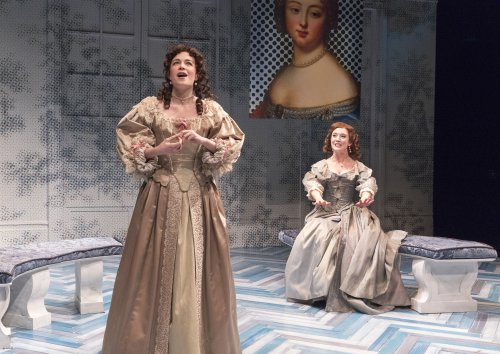 """Ismenia Mendes and Amelia Pedlow in a scene from David Ives' """"The Liar"""" (Photo credit: Richard Termine)"""